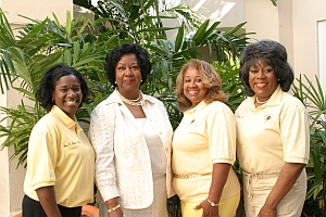 Avis Brown Riley, Thelma B. Thompson, Lajean Gould and Selena Johnson.Past and present Hall of Famers visit with the President of UMES.