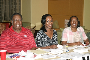 Clewis Wright, Charlayne Jackson and Bessie Brown during registration for the  08 AAGHOF in Palm Beach Gardens, FL.