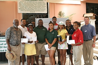 Winners of the 08 AAGHOF Legends Golf Tournament with Malachi Knowles, Founder and PGA Pro, Ted at Bear Lakes Country Club.