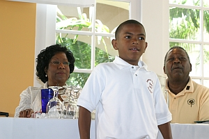 President of UMES, Dr. Thelma B. Thompson and Founder Malachi Knowles, look on as Master Riley Welcomes the Diversity in the Golf Industry Symposium attendees during the AAGHOF 08 Celebration.
