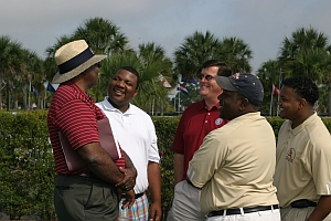 Marshall Cropper, Director, UMES Golf Academy and Billy Dillon, Director, UMES PGM Program, share a laugh with potential UMES students.