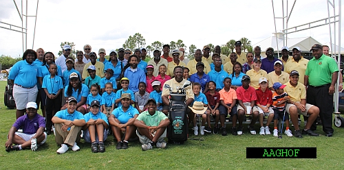 Youth & parents at the golf clinic at the PBGGC during the AAGHOF.